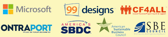 Sponsors: Microsoft, Small Business Development Center, Small Business Entreprenuership Council, 99Designs, CF4ALL, etc.