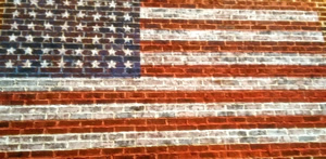 American-flag-on-brick-background