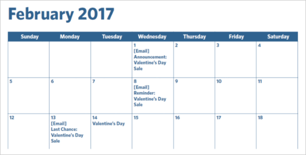Email Marketing Calendar Example