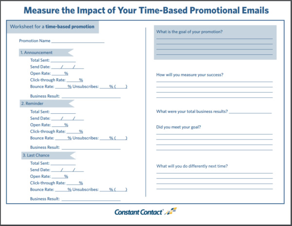 Email Marketing - Sales Worksheet